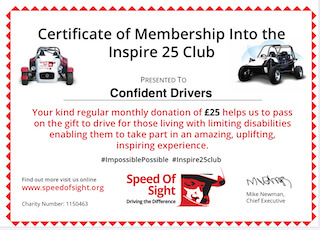 Confident Drivers Inspire 25 charity member