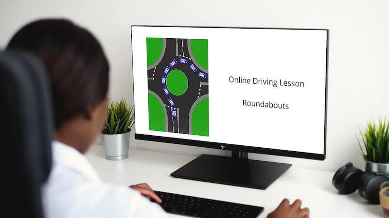 online driving lesson roundabouts